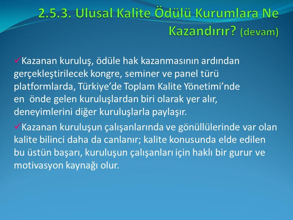 Kazanan kuruluş, ödüle hak kazanmasının ardından gerçekleştirilecek kongre, seminer ve panel türü platformlarda, Türkiye'de Toplam Kalite Yönetimi'nde