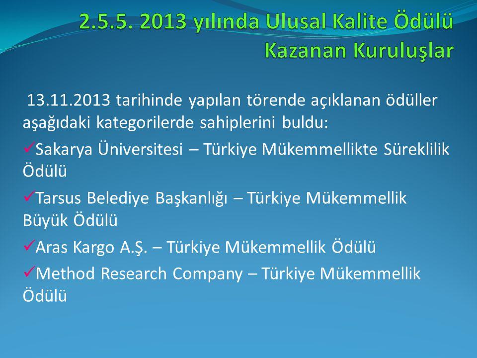 13.11.2013 tarihinde yapılan törende açıklanan ödüller aşağıdaki kategorilerde sahiplerini buldu: Sakarya Üniversitesi – Türkiye Mükemmellikte Sürekli