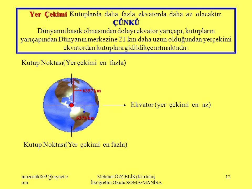 mozcelik805@mynet.c om Mehmet ÖZÇELİK(Kurtuluş İlköğretim Okulu SOMA-MANİSA 11 Paralellerin boylar kutuplara gidildikçe azalır.En uzun paralel ekvator
