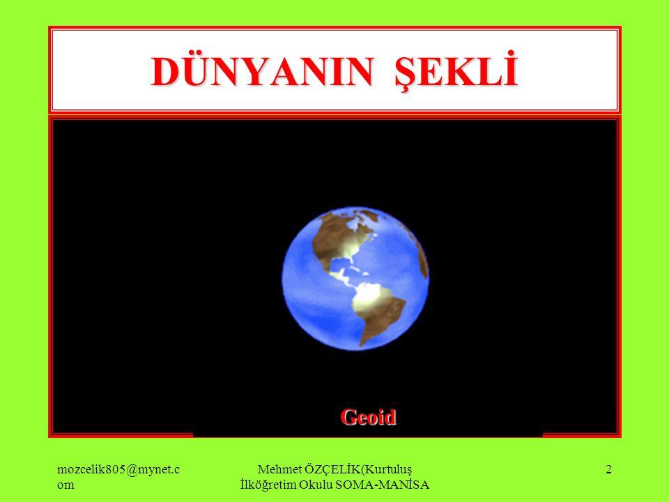 mozcelik805@mynet.c om Mehmet ÖZÇELİK(Kurtuluş İlköğretim Okulu SOMA-MANİSA 12 Yer Çekimi Çekimi Kutuplarda daha fazla ekvatorda daha az olacaktır.
