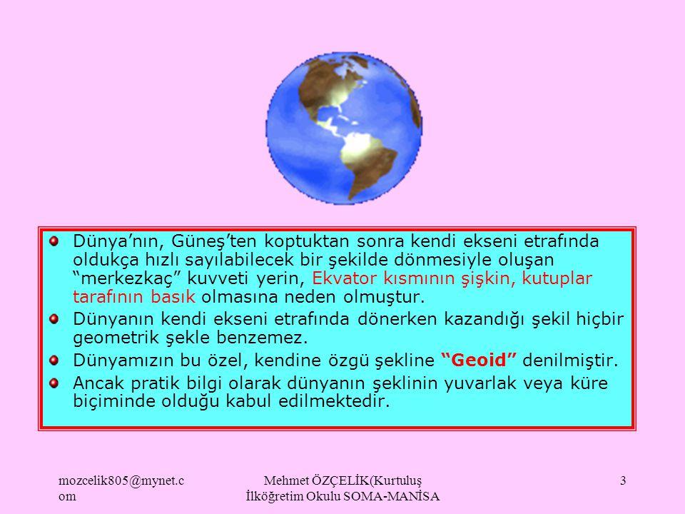 mozcelik805@mynet.c om Mehmet ÖZÇELİK(Kurtuluş İlköğretim Okulu SOMA-MANİSA 2 DÜNYANIN ŞEKLİ Geoid