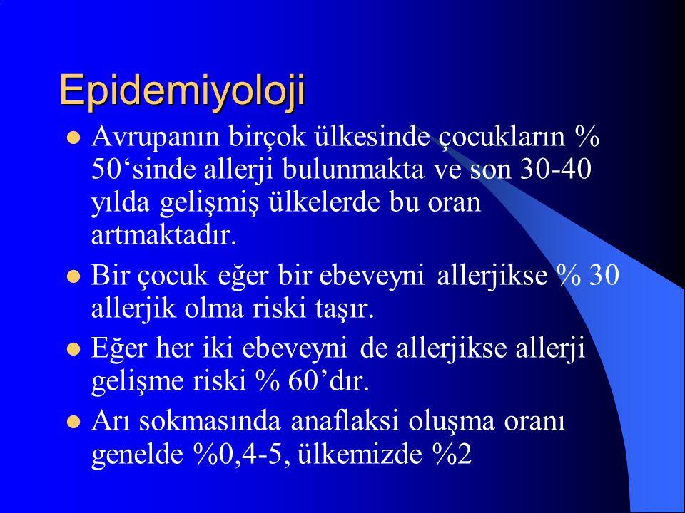 Epidemiyoloji Avrupanın birçok ülkesinde çocukların % 50'sinde allerji bulunmakta ve son 30-40 yılda gelişmiş ülkelerde bu oran artmaktadır. Bir çocuk