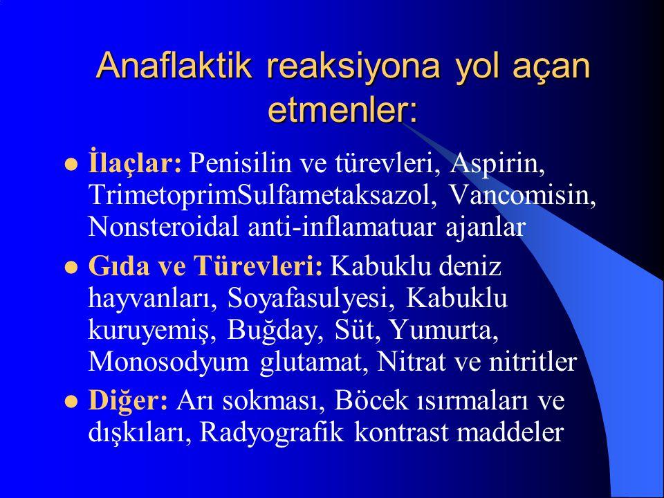 Anaflaktik reaksiyona yol açan etmenler: İlaçlar: Penisilin ve türevleri, Aspirin, TrimetoprimSulfametaksazol, Vancomisin, Nonsteroidal anti-inflamatu