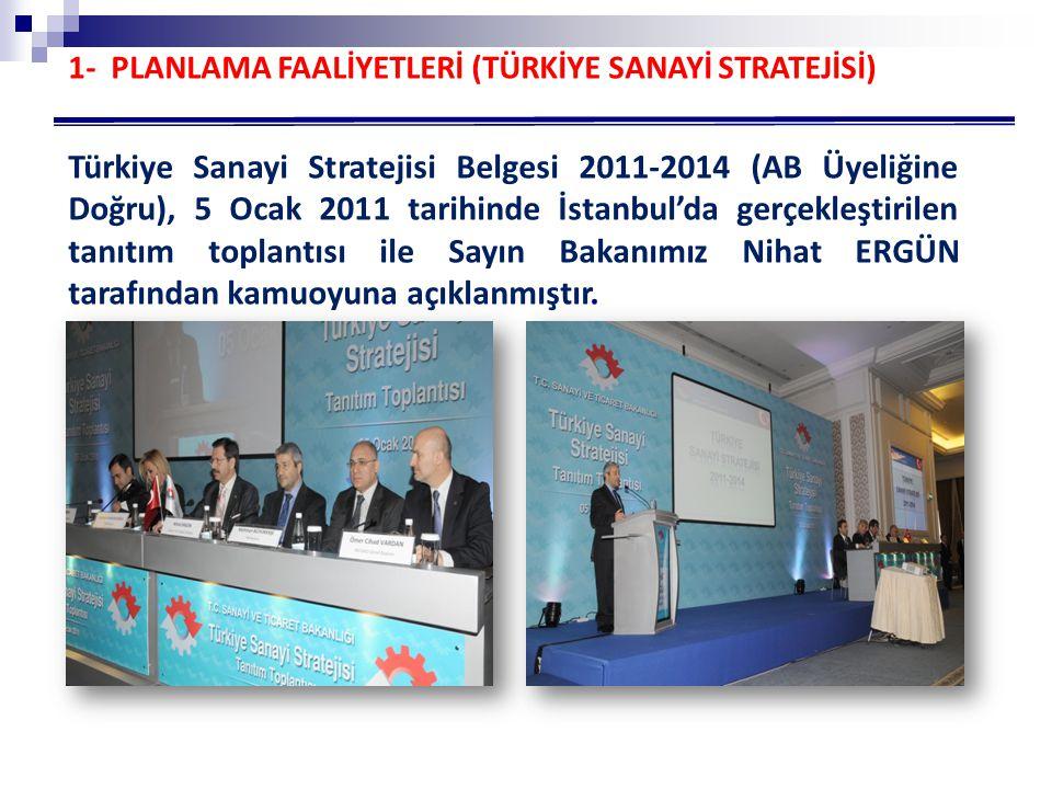 Türkiye Sanayi Stratejisi Belgesi 2011-2014 (AB Üyeliğine Doğru), 5 Ocak 2011 tarihinde İstanbul'da gerçekleştirilen tanıtım toplantısı ile Sayın Bakanımız Nihat ERGÜN tarafından kamuoyuna açıklanmıştır.