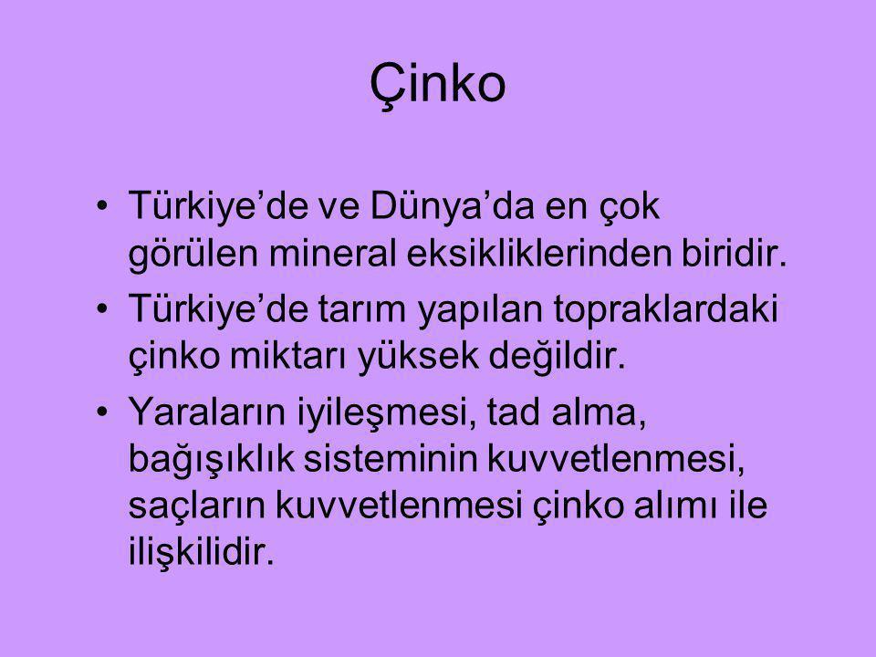 Çinko Türkiye'de ve Dünya'da en çok görülen mineral eksikliklerinden biridir. Türkiye'de tarım yapılan topraklardaki çinko miktarı yüksek değildir. Ya