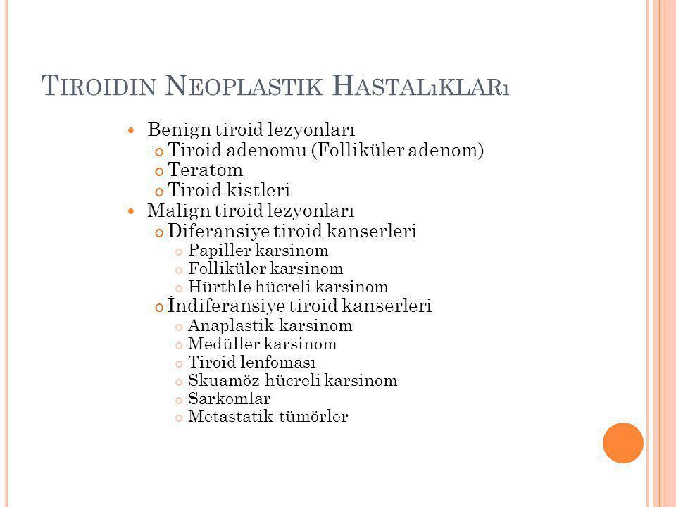 T IROIDIN N EOPLASTIK H ASTALıKLARı Benign tiroid lezyonları Tiroid adenomu (Folliküler adenom) Teratom Tiroid kistleri Malign tiroid lezyonları Difer