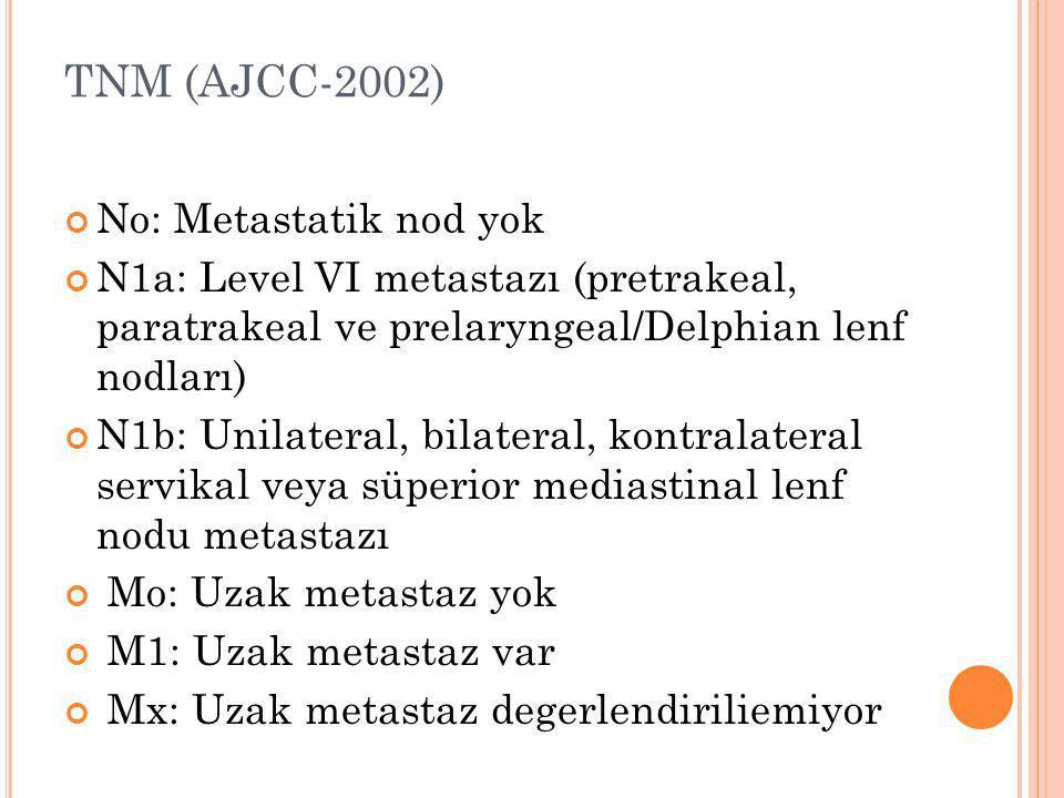 TNM (AJCC-2002) No: Metastatik nod yok N1a: Level VI metastazı (pretrakeal, paratrakeal ve prelaryngeal/Delphian lenf nodları) N1b: Unilateral, bilate