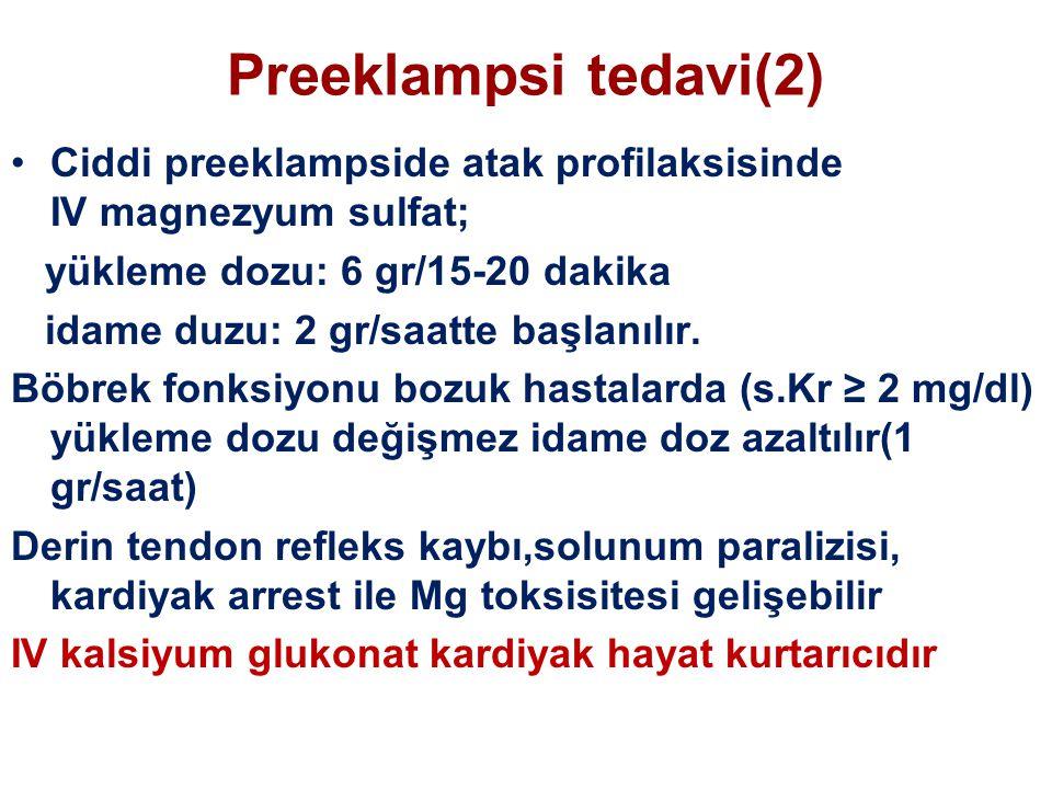 Preeklampsi tedavi(2) Ciddi preeklampside atak profilaksisinde IV magnezyum sulfat; yükleme dozu: 6 gr/15-20 dakika idame duzu: 2 gr/saatte başlanılır