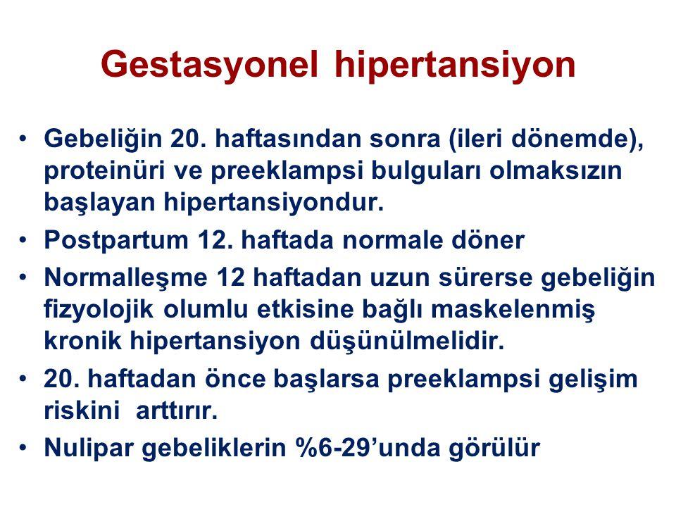 Gestasyonel hipertansiyon Gebeliğin 20. haftasından sonra (ileri dönemde), proteinüri ve preeklampsi bulguları olmaksızın başlayan hipertansiyondur. P