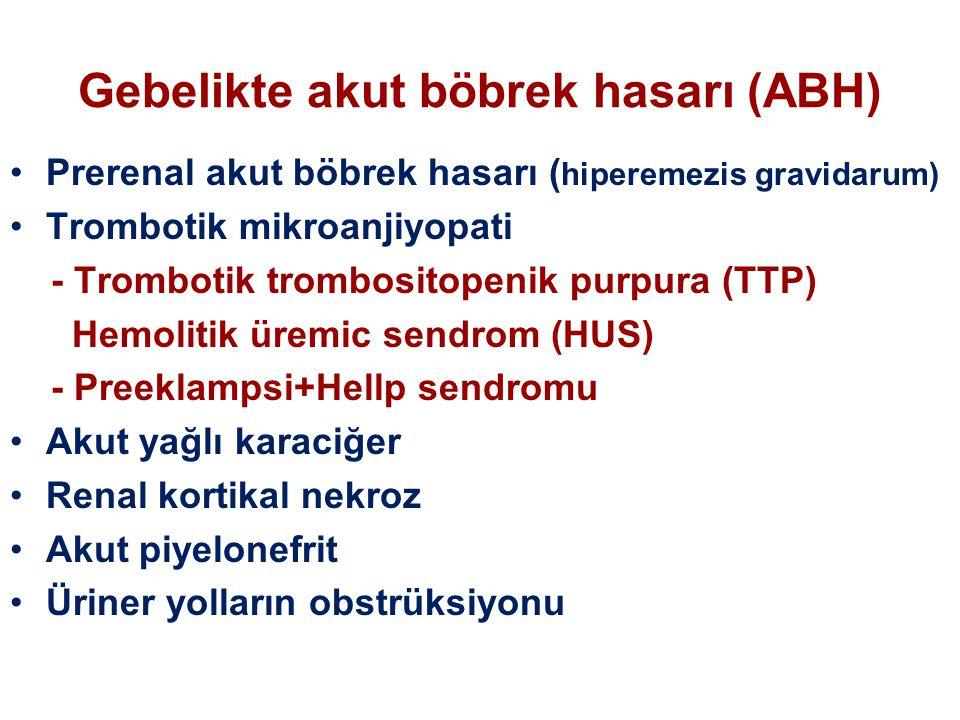 Gebelikte akut böbrek hasarı (ABH) Prerenal akut böbrek hasarı ( hiperemezis gravidarum) Trombotik mikroanjiyopati - Trombotik trombositopenik purpura (TTP) Hemolitik üremic sendrom (HUS) - Preeklampsi+Hellp sendromu Akut yağlı karaciğer Renal kortikal nekroz Akut piyelonefrit Üriner yolların obstrüksiyonu