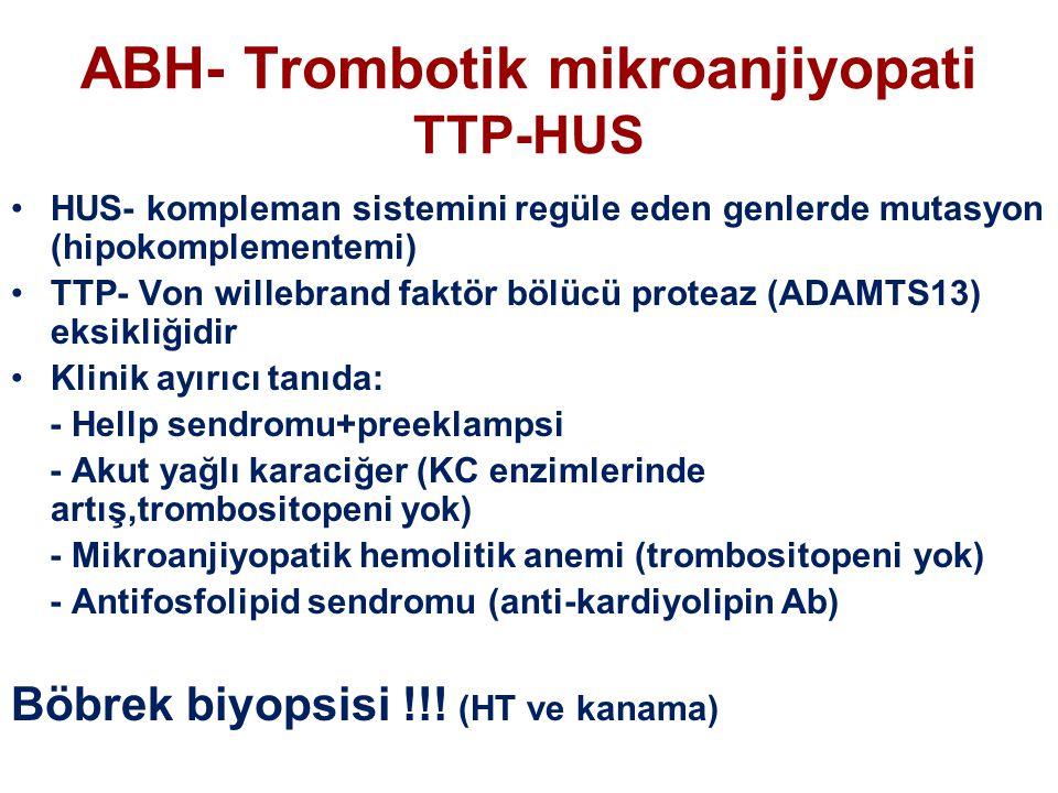 ABH- Trombotik mikroanjiyopati TTP-HUS HUS- kompleman sistemini regüle eden genlerde mutasyon (hipokomplementemi) TTP- Von willebrand faktör bölücü proteaz (ADAMTS13) eksikliğidir Klinik ayırıcı tanıda: - Hellp sendromu+preeklampsi - Akut yağlı karaciğer (KC enzimlerinde artış,trombositopeni yok) - Mikroanjiyopatik hemolitik anemi (trombositopeni yok) - Antifosfolipid sendromu (anti-kardiyolipin Ab) Böbrek biyopsisi !!.
