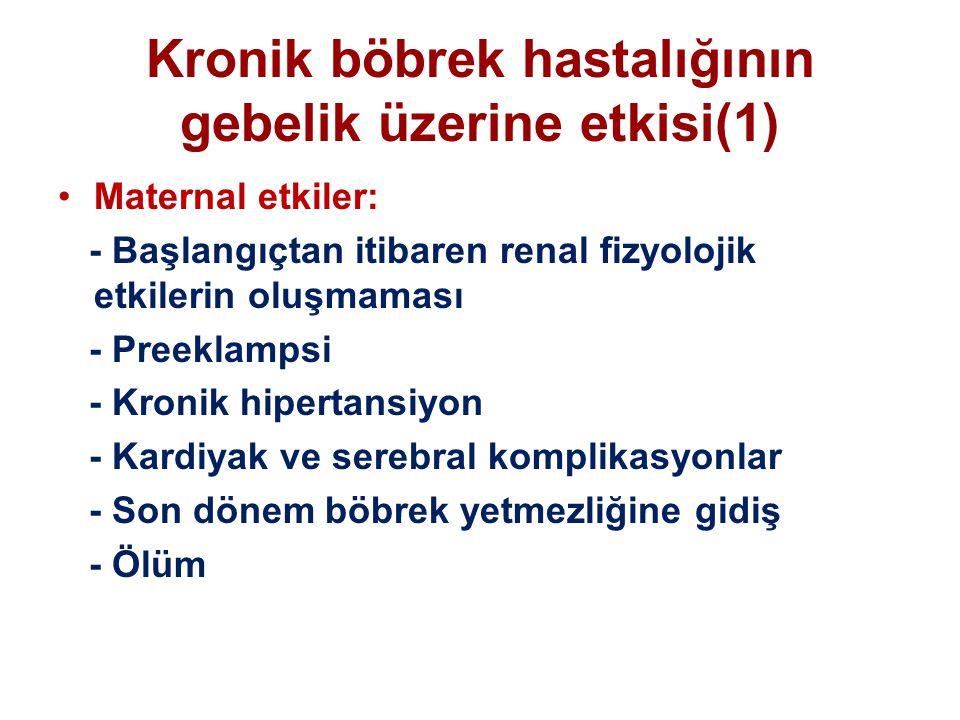 Kronik böbrek hastalığının gebelik üzerine etkisi(1) Maternal etkiler: - Başlangıçtan itibaren renal fizyolojik etkilerin oluşmaması - Preeklampsi - K
