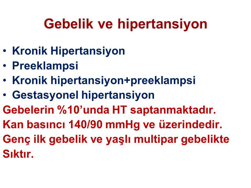 Gebelik ve hipertansiyon Kronik Hipertansiyon Preeklampsi Kronik hipertansiyon+preeklampsi Gestasyonel hipertansiyon Gebelerin %10'unda HT saptanmakta