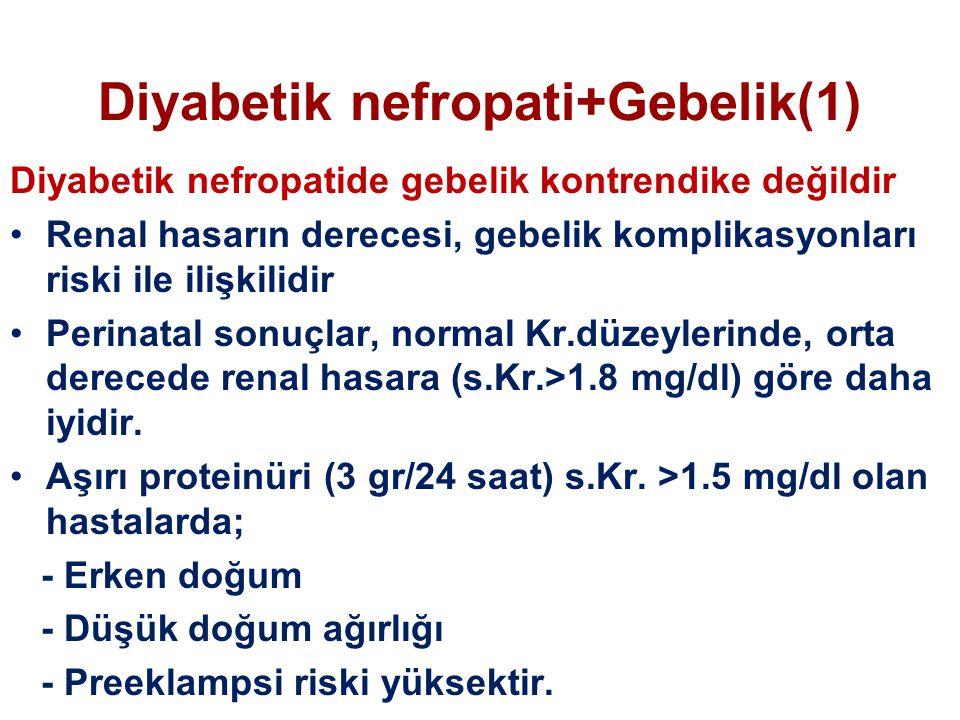 Diyabetik nefropati+Gebelik(1) Diyabetik nefropatide gebelik kontrendike değildir Renal hasarın derecesi, gebelik komplikasyonları riski ile ilişkilidir Perinatal sonuçlar, normal Kr.düzeylerinde, orta derecede renal hasara (s.Kr.>1.8 mg/dl) göre daha iyidir.