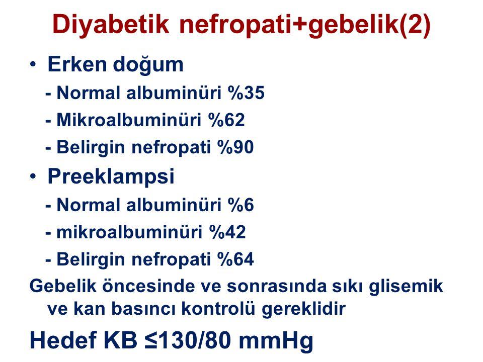 Diyabetik nefropati+gebelik(2) Erken doğum - Normal albuminüri %35 - Mikroalbuminüri %62 - Belirgin nefropati %90 Preeklampsi - Normal albuminüri %6 - mikroalbuminüri %42 - Belirgin nefropati %64 Gebelik öncesinde ve sonrasında sıkı glisemik ve kan basıncı kontrolü gereklidir Hedef KB ≤130/80 mmHg