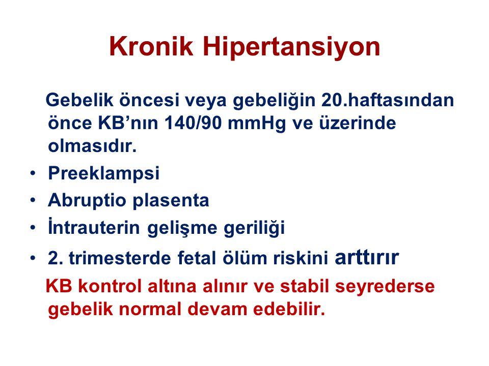 Kronik Hipertansiyon Gebelik öncesi veya gebeliğin 20.haftasından önce KB'nın 140/90 mmHg ve üzerinde olmasıdır. Preeklampsi Abruptio plasenta İntraut