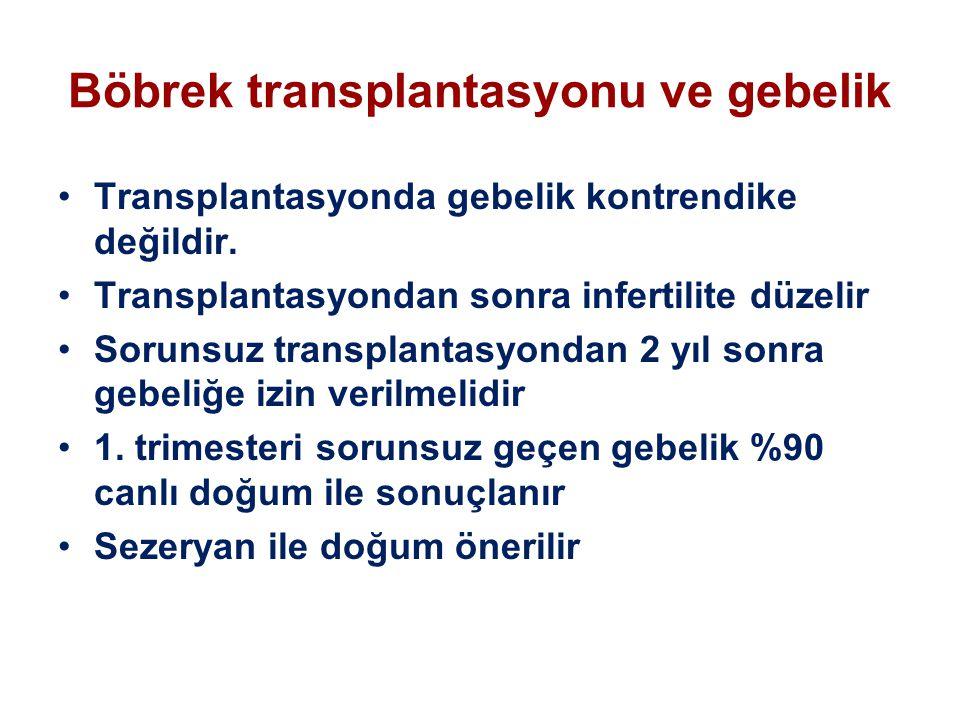 Böbrek transplantasyonu ve gebelik Transplantasyonda gebelik kontrendike değildir. Transplantasyondan sonra infertilite düzelir Sorunsuz transplantasy