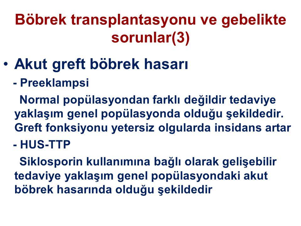 Böbrek transplantasyonu ve gebelikte sorunlar(3) Akut greft böbrek hasarı - Preeklampsi Normal popülasyondan farklı değildir tedaviye yaklaşım genel p