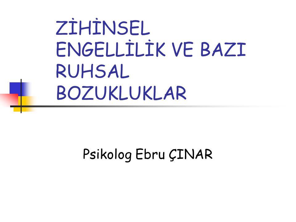 ZİHİNSEL ENGELLİLİK VE BAZI RUHSAL BOZUKLUKLAR Psikolog Ebru ÇINAR