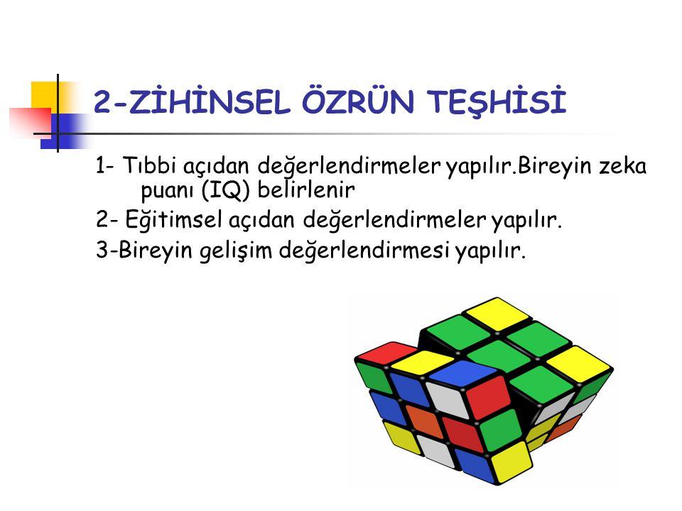 2-ZİHİNSEL ÖZRÜN TEŞHİSİ 1- Tıbbi açıdan değerlendirmeler yapılır.Bireyin zeka puanı (IQ) belirlenir 2- Eğitimsel açıdan değerlendirmeler yapılır. 3-B