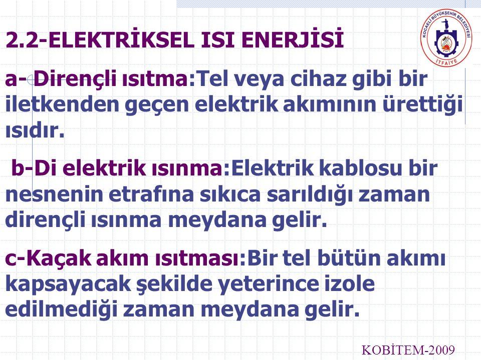 2.2-ELEKTRİKSEL ISI ENERJİSİ a- Dirençli ısıtma:Tel veya cihaz gibi bir iletkenden geçen elektrik akımının ürettiği ısıdır. b-Di elektrik ısınma:Elekt