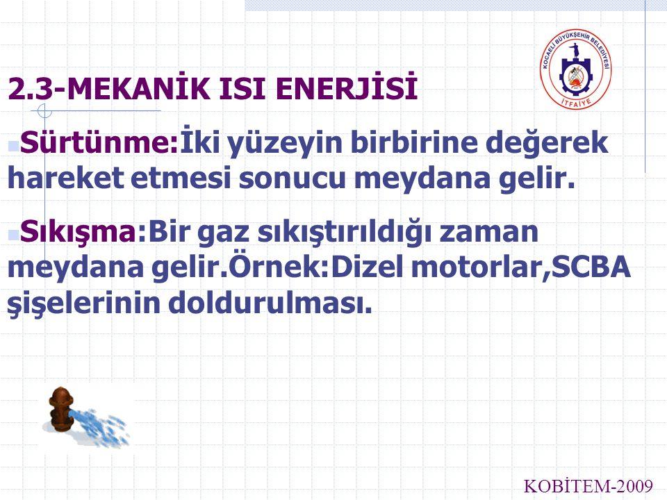 2.3-MEKANİK ISI ENERJİSİ Sürtünme:İki yüzeyin birbirine değerek hareket etmesi sonucu meydana gelir. Sıkışma:Bir gaz sıkıştırıldığı zaman meydana geli