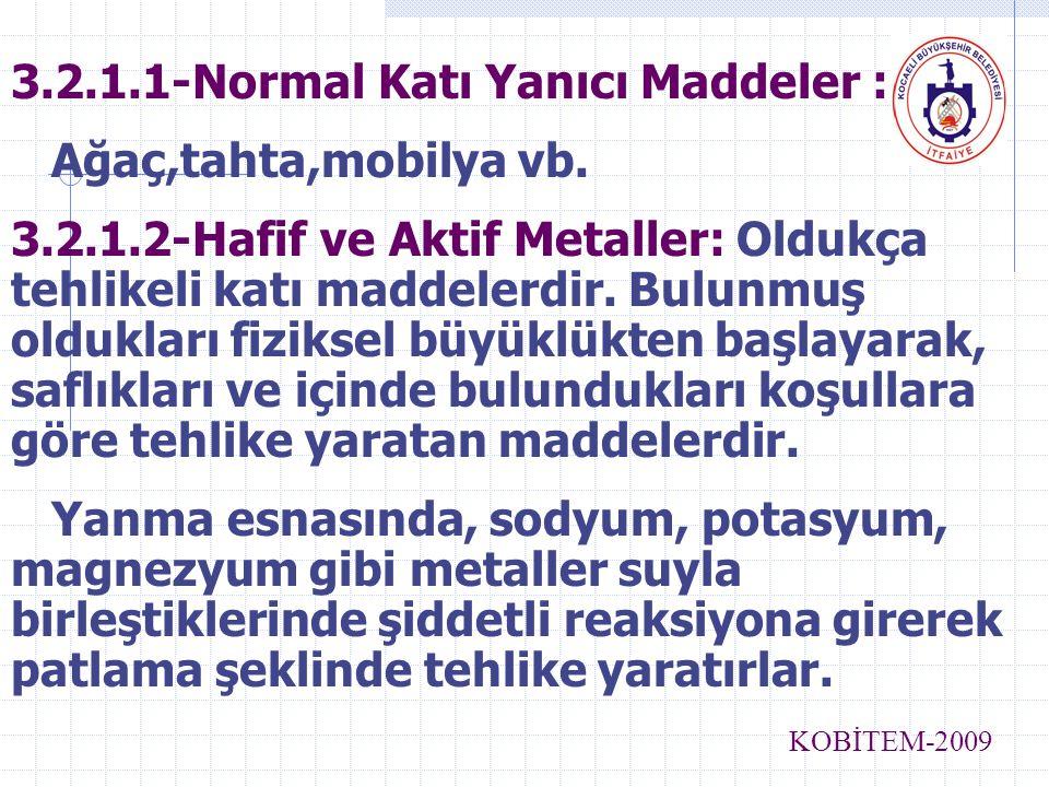 3.2.1.1-Normal Katı Yanıcı Maddeler : Ağaç,tahta,mobilya vb. 3.2.1.2-Hafif ve Aktif Metaller: Oldukça tehlikeli katı maddelerdir. Bulunmuş oldukları f