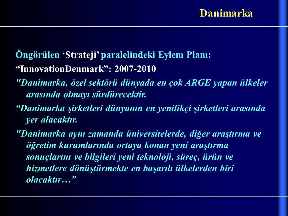 """Öngörülen 'Strateji' paralelindeki Eylem Planı: """"InnovationDenmark"""": 2007-2010"""
