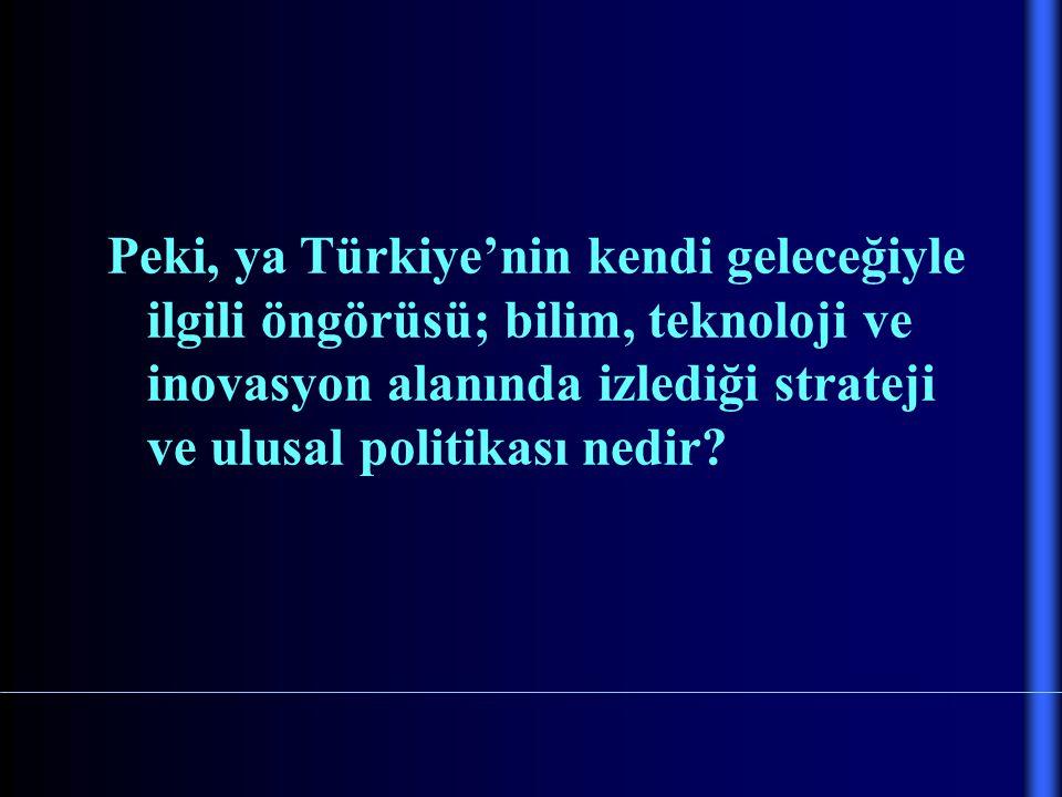 Peki, ya Türkiye'nin kendi geleceğiyle ilgili öngörüsü; bilim, teknoloji ve inovasyon alanında izlediği strateji ve ulusal politikası nedir?