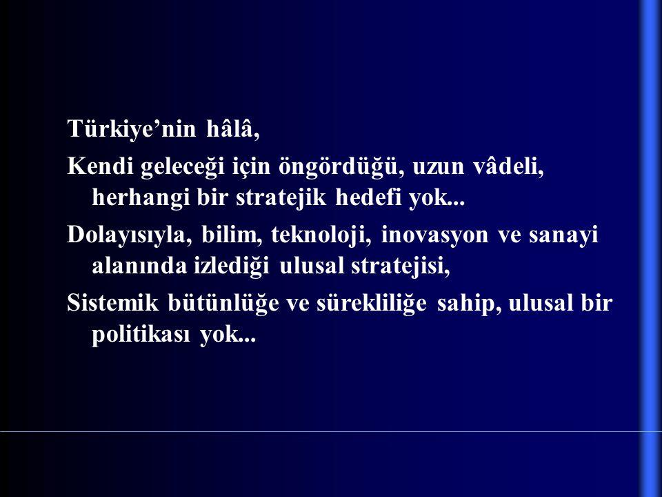 Türkiye'nin hâlâ, Kendi geleceği için öngördüğü, uzun vâdeli, herhangi bir stratejik hedefi yok... Dolayısıyla, bilim, teknoloji, inovasyon ve sanayi