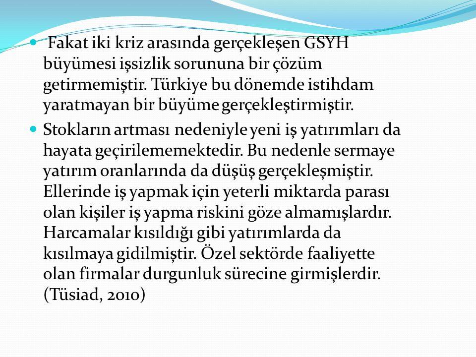 Fakat iki kriz arasında gerçekleşen GSYH büyümesi işsizlik sorununa bir çözüm getirmemiştir. Türkiye bu dönemde istihdam yaratmayan bir büyüme gerçekl