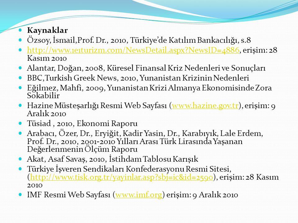 Kaynaklar Özsoy, İsmail,Prof. Dr., 2010, Türkiye'de Katılım Bankacılığı, s.8 http://www.1e1turizm.com/NewsDetail.aspx?NewsID=4886, erişim: 28 Kasım 20
