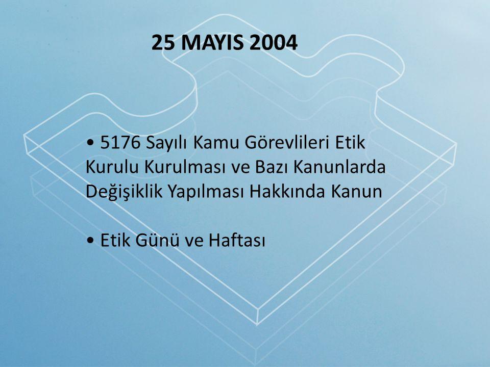 25 MAYIS 2004 5176 Sayılı Kamu Görevlileri Etik Kurulu Kurulması ve Bazı Kanunlarda Değişiklik Yapılması Hakkında Kanun Etik Günü ve Haftası