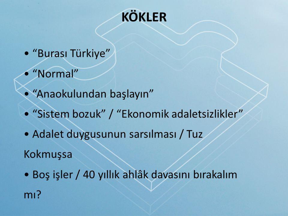 """KÖKLER """"Burası Türkiye"""" """"Normal"""" """"Anaokulundan başlayın"""" """"Sistem bozuk"""" / """"Ekonomik adaletsizlikler"""" Adalet duygusunun sarsılması / Tuz Kokmuşsa Boş i"""
