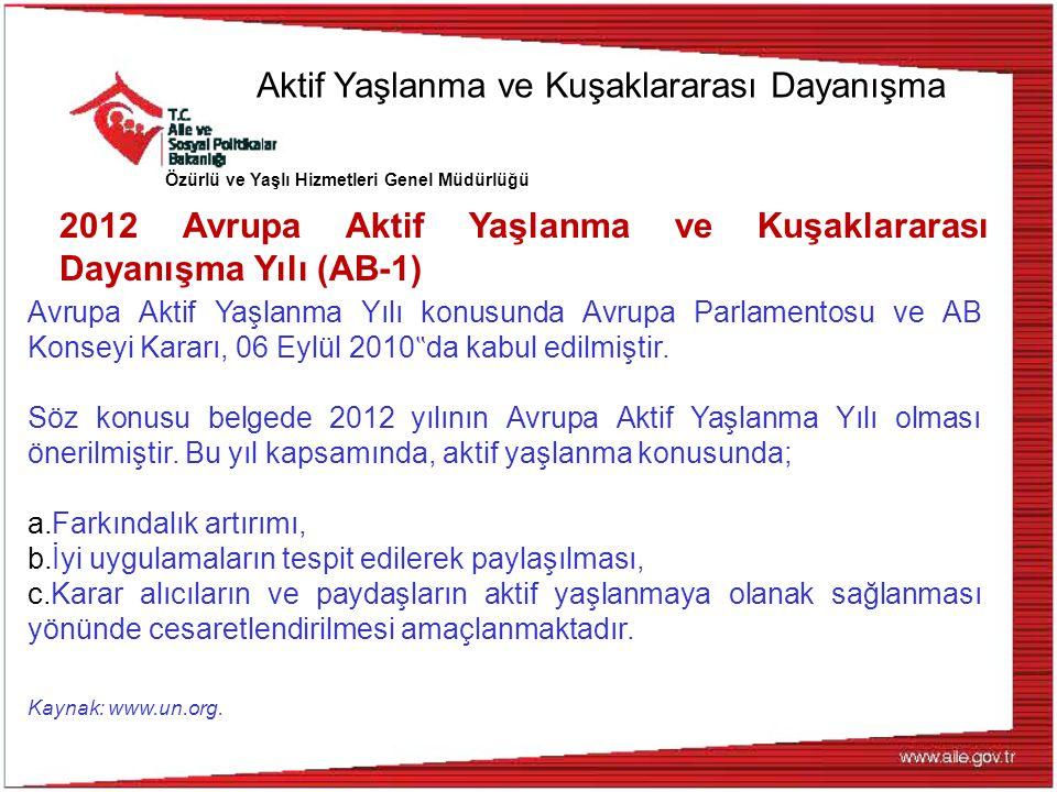 Özürlü ve Yaşlı Hizmetleri Genel Müdürlüğü 2012 Avrupa Aktif Yaşlanma ve Kuşaklararası Dayanışma Yılı (AB-1) Avrupa Aktif Yaşlanma Yılı konusunda Avru