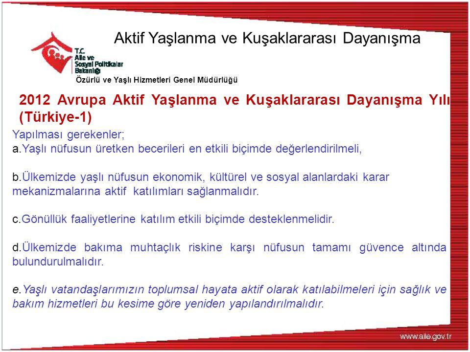 Özürlü ve Yaşlı Hizmetleri Genel Müdürlüğü 2012 Avrupa Aktif Yaşlanma ve Kuşaklararası Dayanışma Yılı (Türkiye-1) Yapılması gerekenler; a.Yaşlı nüfusu