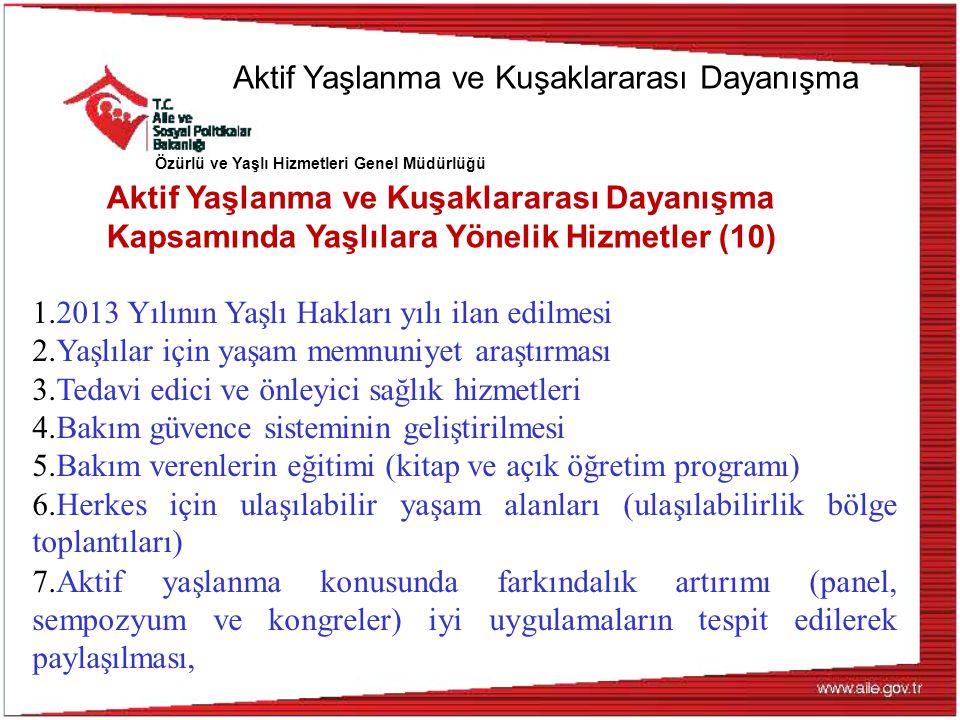 Özürlü ve Yaşlı Hizmetleri Genel Müdürlüğü Aktif Yaşlanma ve Kuşaklararası Dayanışma Kapsamında Yaşlılara Yönelik Hizmetler (10) 1.2013 Yılının Yaşlı