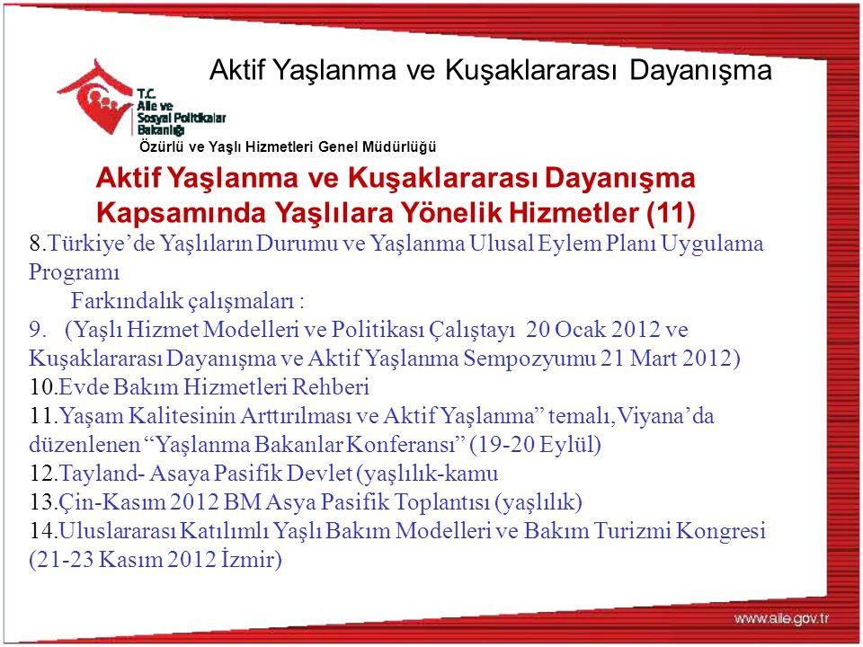 Özürlü ve Yaşlı Hizmetleri Genel Müdürlüğü 8.Türkiye'de Yaşlıların Durumu ve Yaşlanma Ulusal Eylem Planı Uygulama Programı Farkındalık çalışmaları : 9