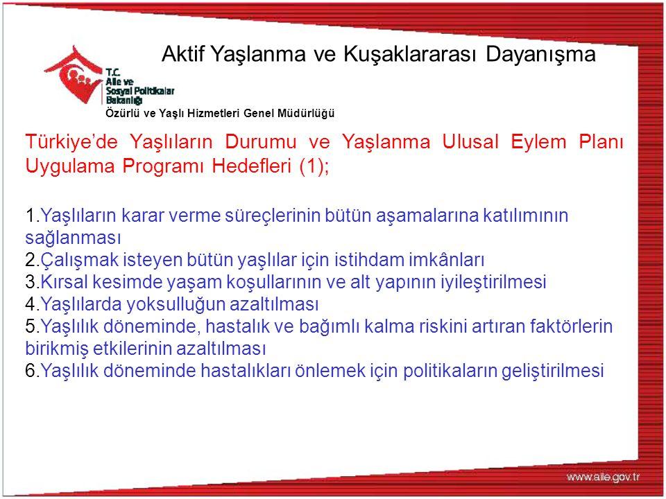 Özürlü ve Yaşlı Hizmetleri Genel Müdürlüğü Türkiye'de Yaşlıların Durumu ve Yaşlanma Ulusal Eylem Planı Uygulama Programı Hedefleri (1); 1.Yaşlıların k