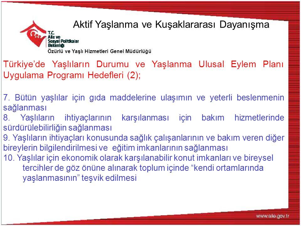 Özürlü ve Yaşlı Hizmetleri Genel Müdürlüğü Türkiye'de Yaşlıların Durumu ve Yaşlanma Ulusal Eylem Planı Uygulama Programı Hedefleri (2); 7. Bütün yaşlı