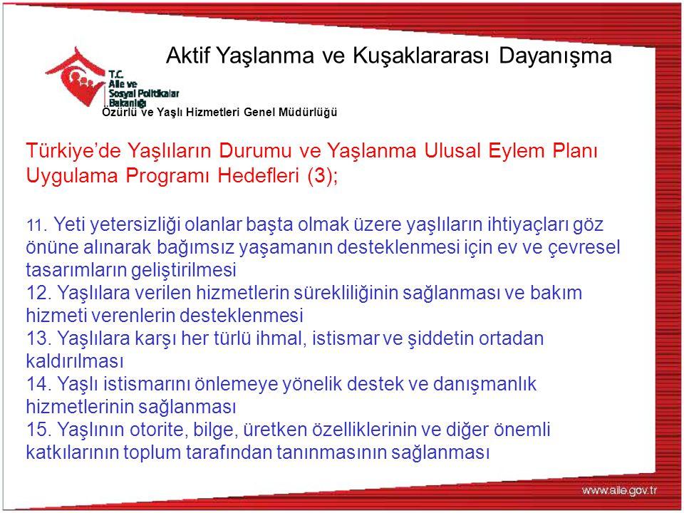 Özürlü ve Yaşlı Hizmetleri Genel Müdürlüğü Türkiye'de Yaşlıların Durumu ve Yaşlanma Ulusal Eylem Planı Uygulama Programı Hedefleri (3); 11. Yeti yeter