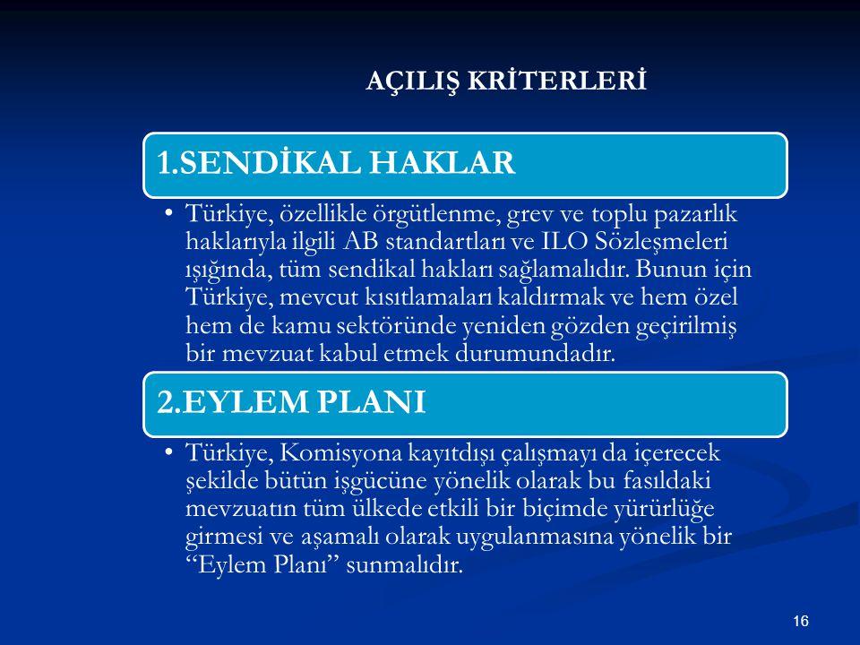AÇILIŞ KRİTERLERİ 16 1.SENDİKAL HAKLAR Türkiye, özellikle örgütlenme, grev ve toplu pazarlık haklarıyla ilgili AB standartları ve ILO Sözleşmeleri ışı