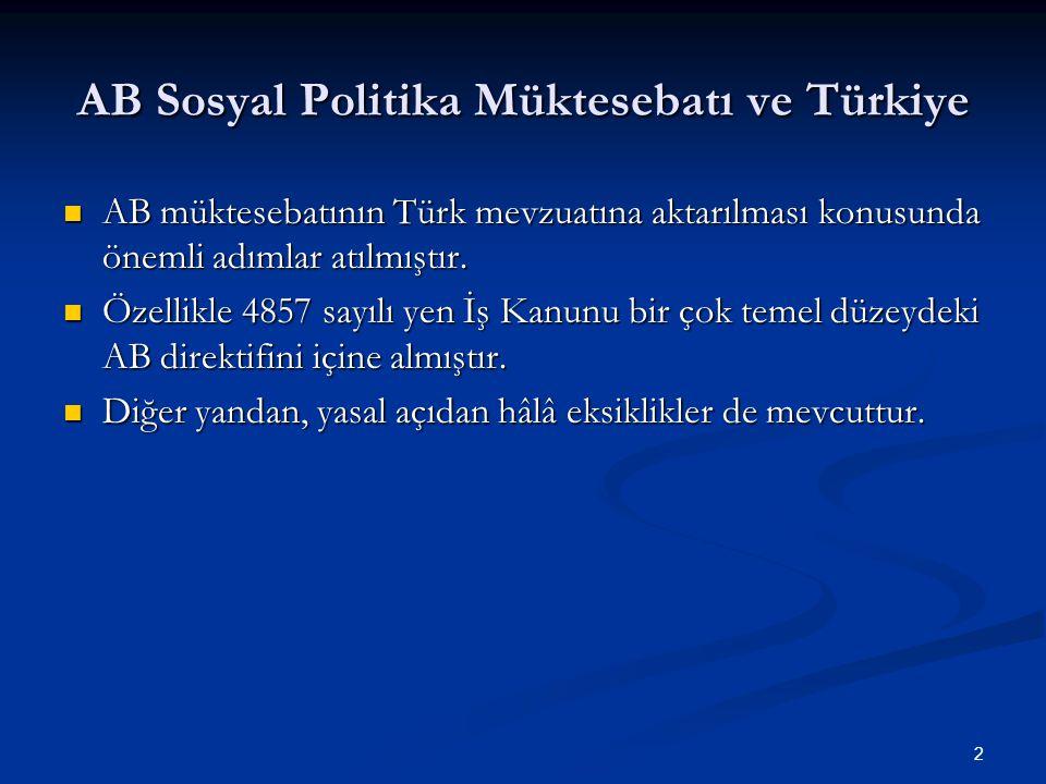 AB Sosyal Politika Müktesebatı ve Türkiye AB müktesebatının Türk mevzuatına aktarılması konusunda önemli adımlar atılmıştır. AB müktesebatının Türk me