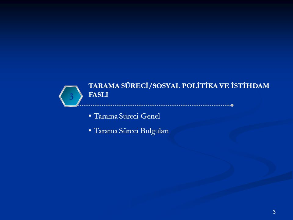 TARAMA SONU RAPORU 14  Avrupa Komisyonu tarafından sunulan Tarama Sonu Raporu nun yayımlanması ile Sosyal Politika ve İstihdam Faslının tarama süreci tamamlanmıştır.