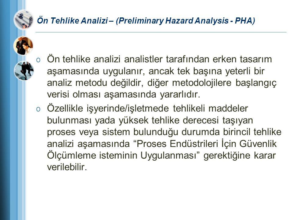 Ön Tehlike Analizi – (Preliminary Hazard Analysis - PHA) o Ön tehlike analizi analistler tarafından erken tasarım aşamasında uygulanır, ancak tek başı