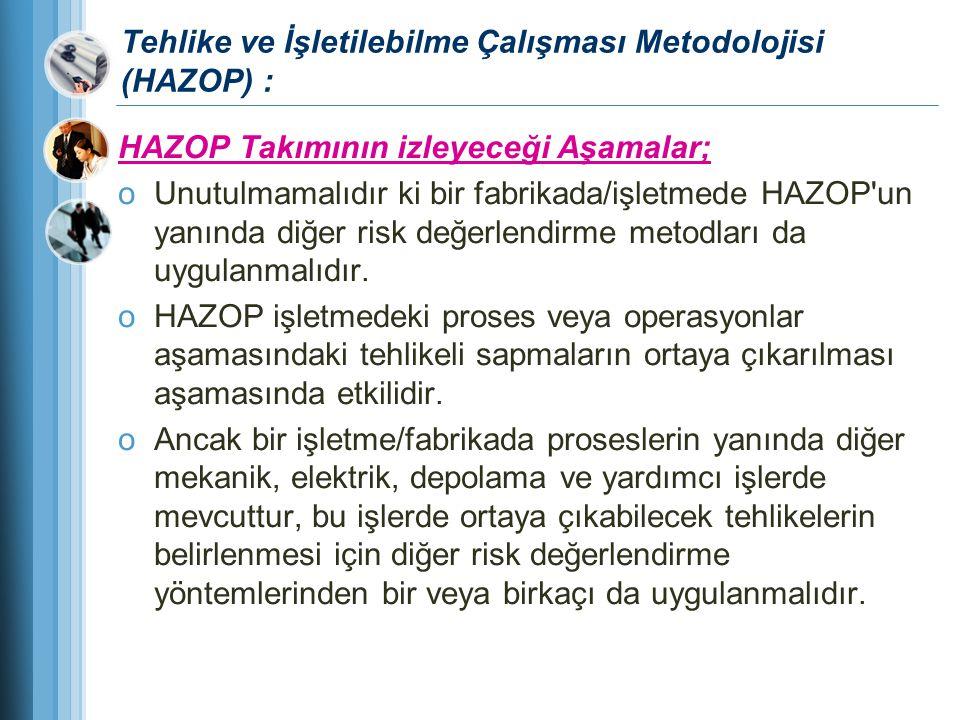 Tehlike ve İşletilebilme Çalışması Metodolojisi (HAZOP) : HAZOP Takımının izleyeceği Aşamalar; oUnutulmamalıdır ki bir fabrikada/işletmede HAZOP'un ya