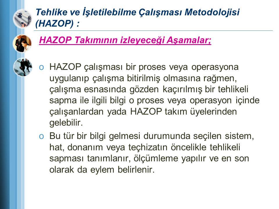 Tehlike ve İşletilebilme Çalışması Metodolojisi (HAZOP) : HAZOP Takımının izleyeceği Aşamalar; oHAZOP çalışması bir proses veya operasyona uygulanıp ç