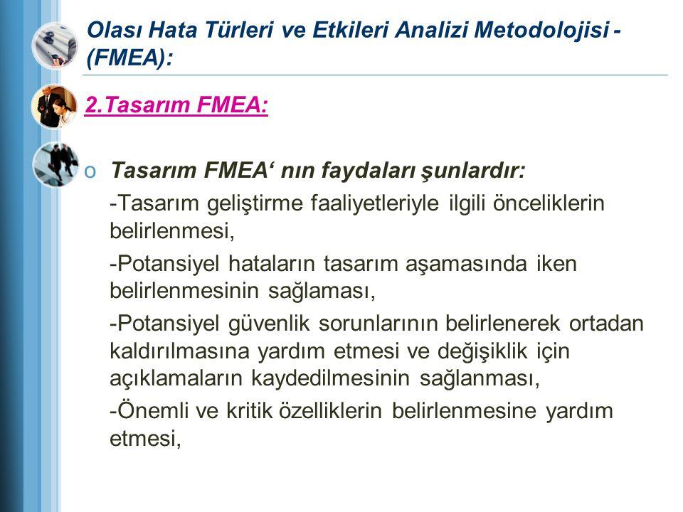 Olası Hata Türleri ve Etkileri Analizi Metodolojisi - (FMEA): 2.Tasarım FMEA: oTasarım FMEA' nın faydaları şunlardır: -Tasarım geliştirme faaliyetleri