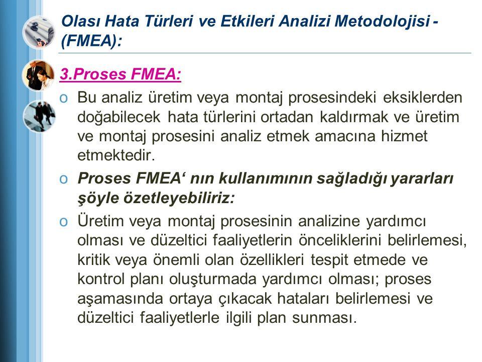 Olası Hata Türleri ve Etkileri Analizi Metodolojisi - (FMEA): 3.Proses FMEA: oBu analiz üretim veya montaj prosesindeki eksiklerden doğabilecek hata t