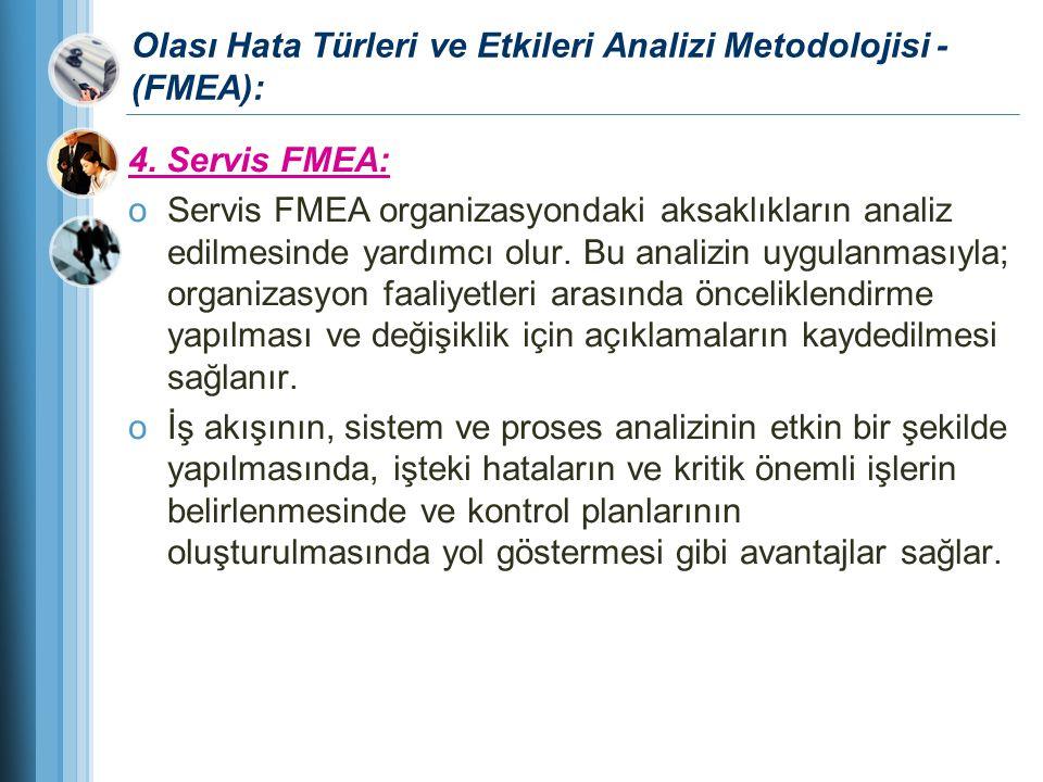 Olası Hata Türleri ve Etkileri Analizi Metodolojisi - (FMEA): 4. Servis FMEA: oServis FMEA organizasyondaki aksaklıkların analiz edilmesinde yardımcı
